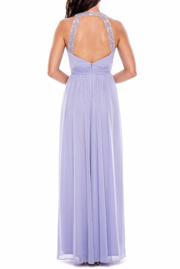 Decode 18 Lilac Chiffon Gown with Beaded Pearl Neckline
