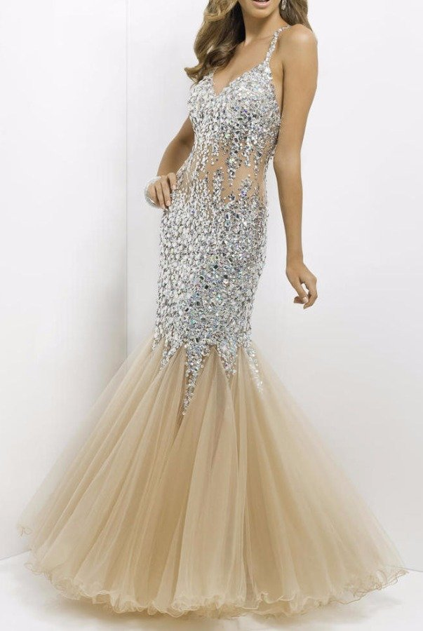 Blush Crystal Encrusted Nude Illusion Gown Mermaid Dress