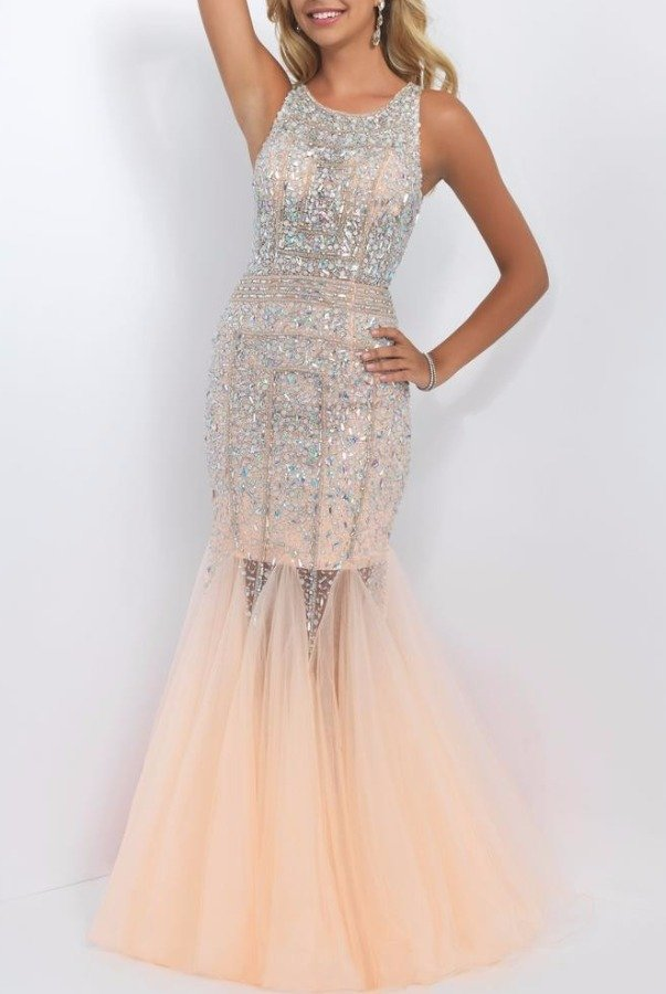 Blush Prom 11101 Embellished Blush Mermaid Gown Prom Dress