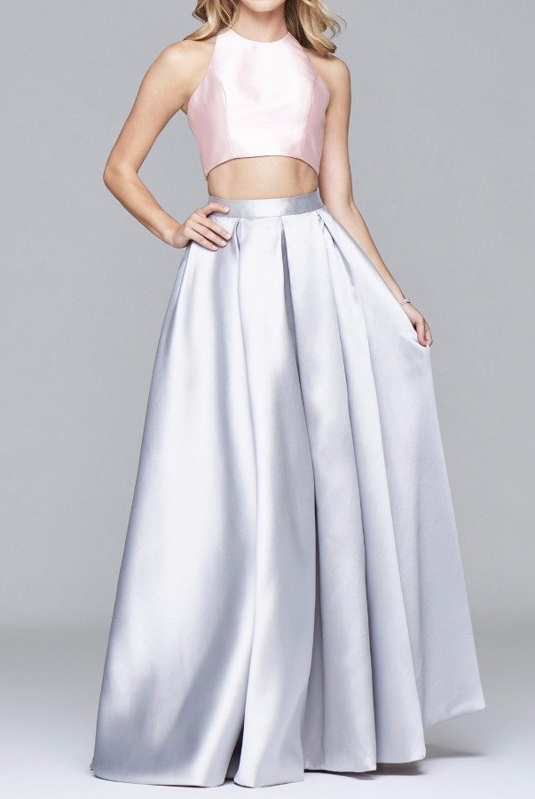 Faviana 7962 Pearl Pink Blush Mikado Two Piece Gown Dress
