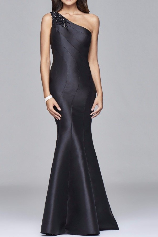 Faviana S7973 Beaded One Shoulder Black Mermaid Gown Dress