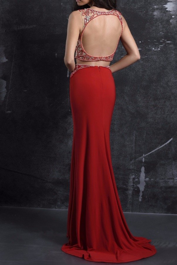 Nina Canacci 1263  Triumph Beaded Two Piece Gown Dress in Red