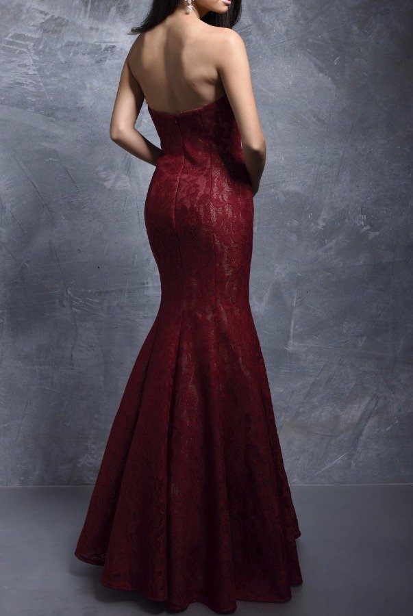 Nina Canacci Enchanted Elegance Burgundy Lace Mermaid Gown 1278