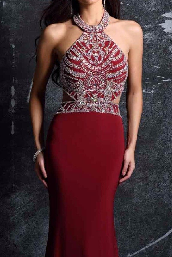 Nina Canacci Burgundy Cutout Beaded Evening Gown Dress 1328