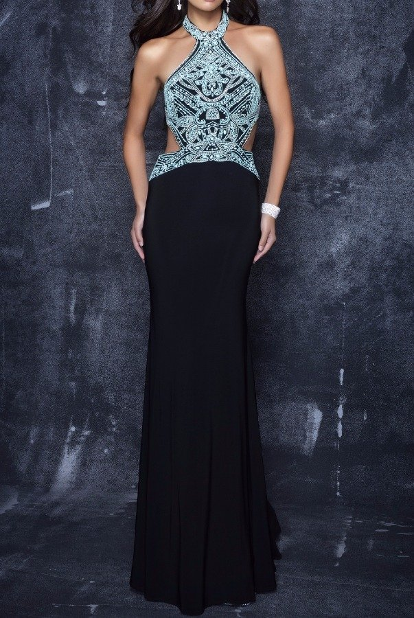 Nina Canacci 3120 Sensational Beaded Black Cutout Evening Gown