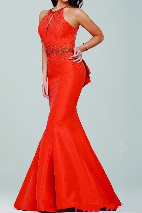 Jovani 33064 Red Low Open Back Ruffle Mermaid Prom Dress