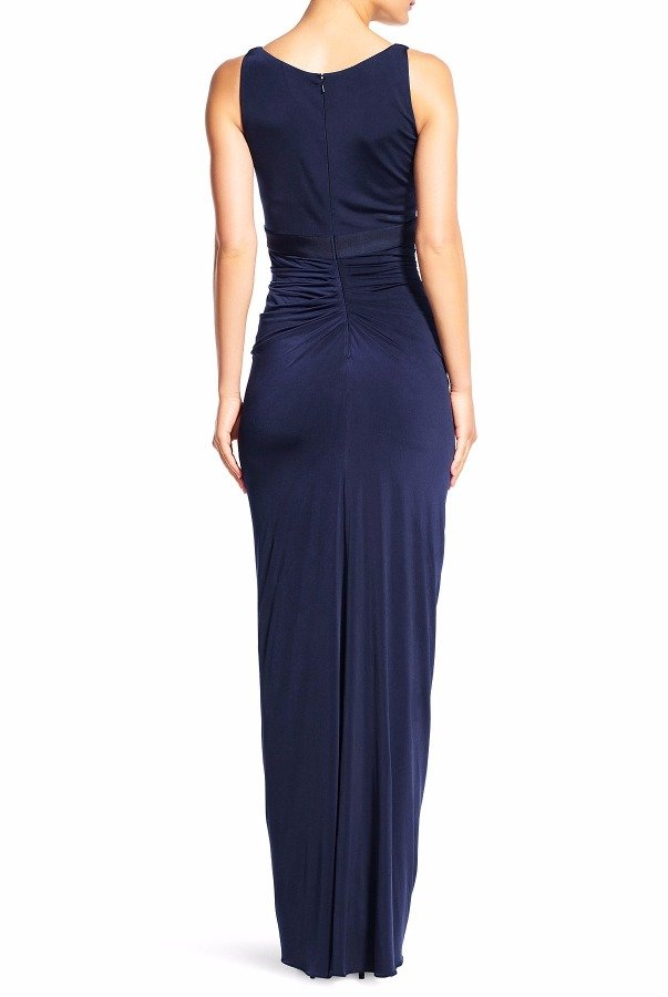 Adrianna Papell Navy Blue Cascading Ruffle Venetian Jersey Gown
