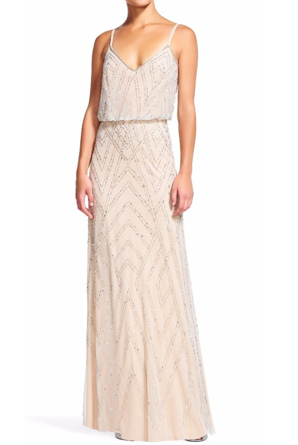 Adrianna Papell Diamond Beaded Blouson Dress Gown Blush Nude