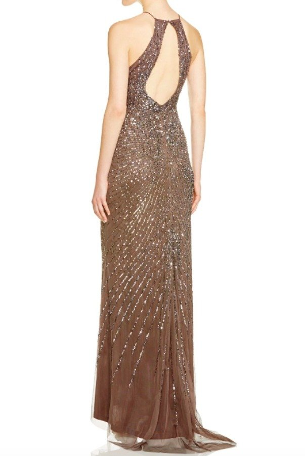 Adrianna Papell Women's Brown Sleeveless Keyhole Beaded Gown