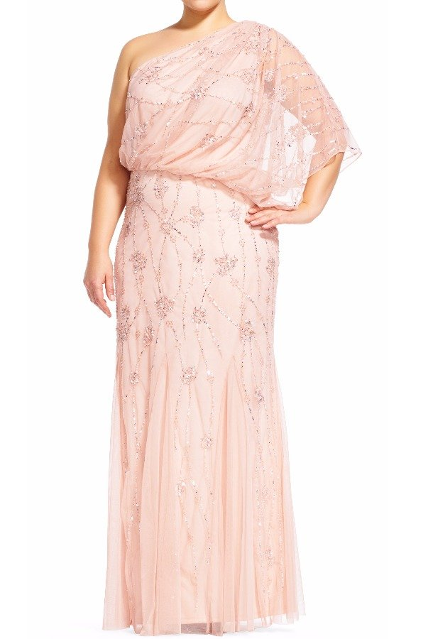 Adrianna Papell One shoulder Blush Beaded Gown Blouson Dress