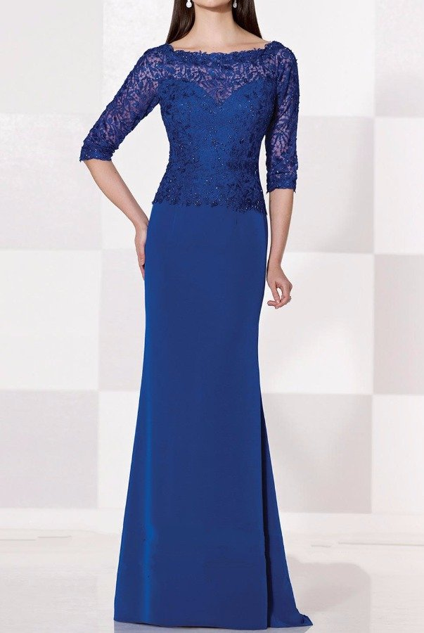 Cameron Blake Mon Cheri Cobalt Blue Long Sleeve Gown Mother Of Bride Dress
