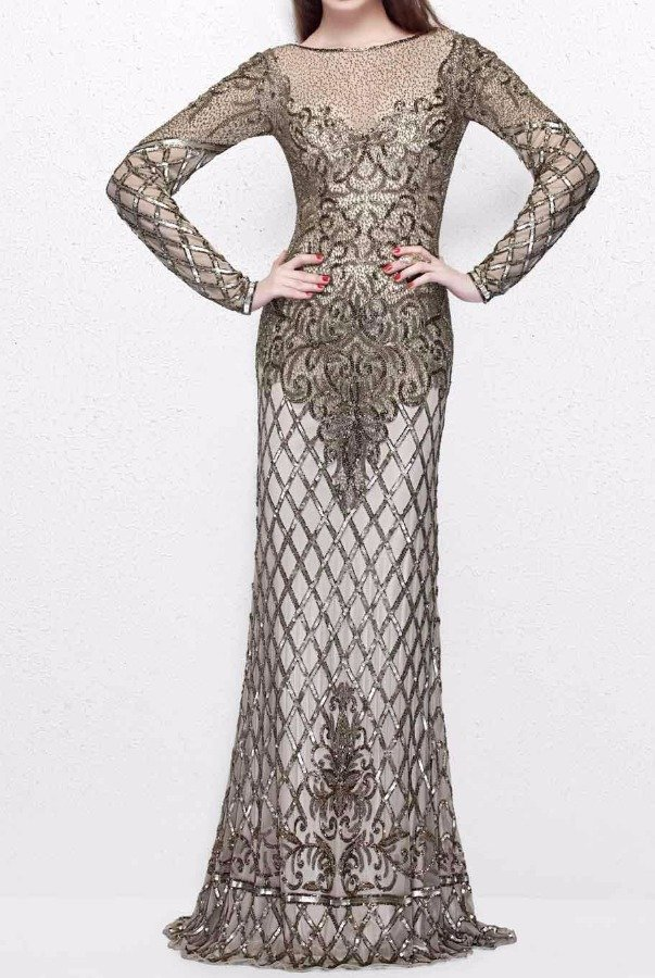 Primavera 1720 High Neckline Long SleeveBeaded Dress Gown