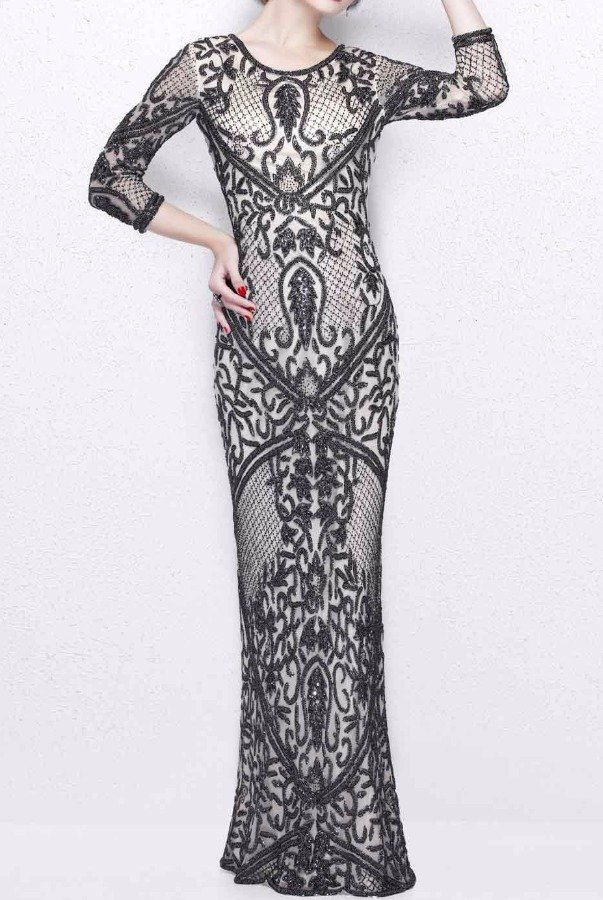 Primavera Couture 1759 Nude Gunmetal Beaded Long Sleeve Gown Dress