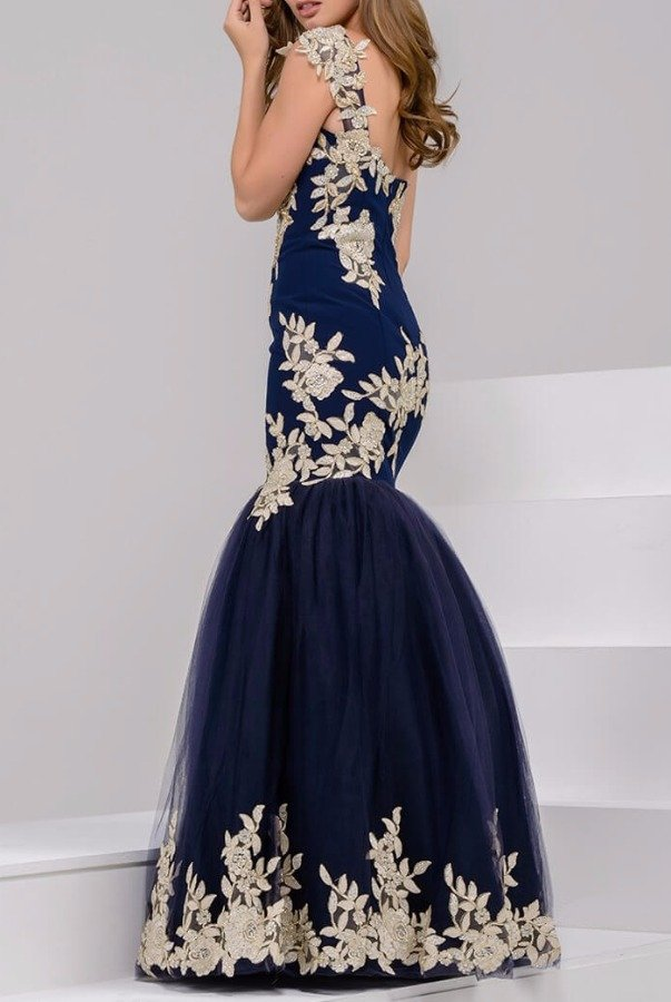 Jovani 41713 Navy Gold Mermaid style Gown Evening Dress