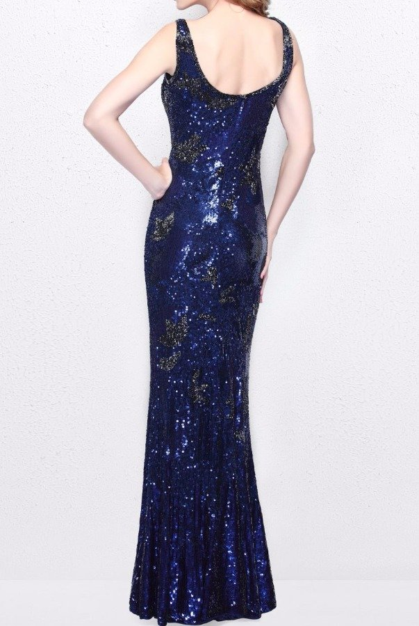Primavera Couture 1702 Navy Blue Sequin Beaded Gown Evening Dress