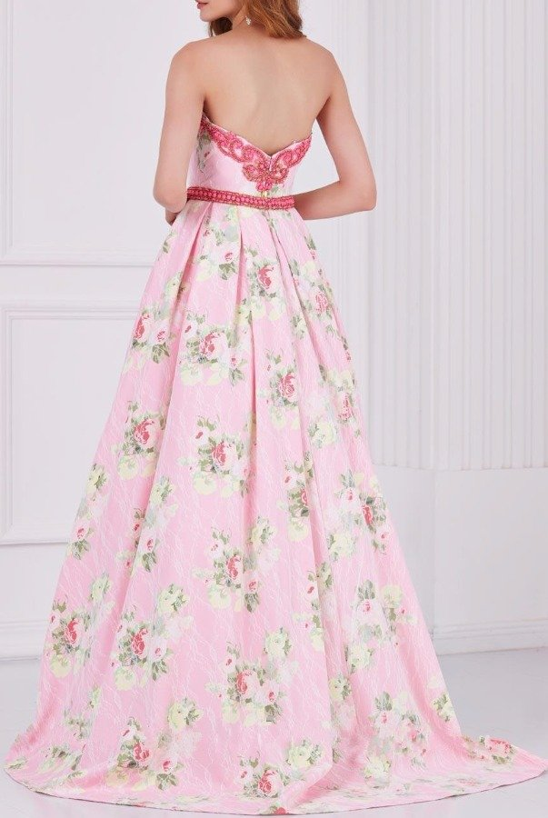 Angela and Alison 61105 Blush Pink Strapless Floral Dress Gown