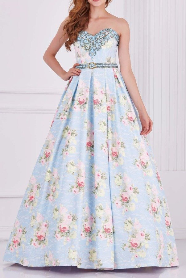 Angela and Alison 61105 Pleated Perfection Floral Evening Gown Blue