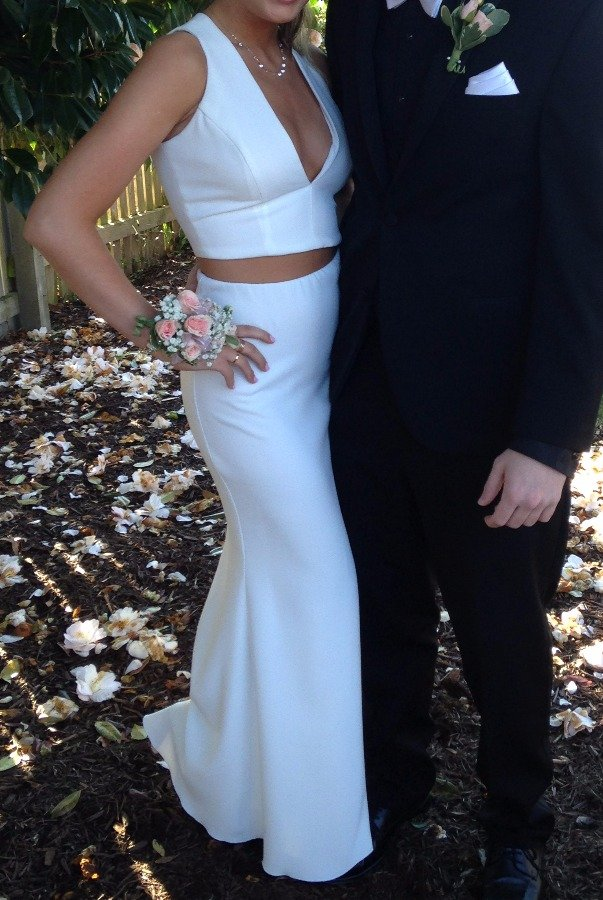 Rubber Ducky White Deep V Two Piece Mermaid Gown