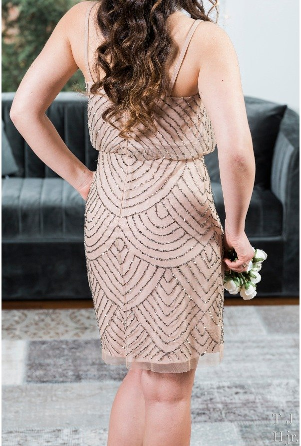 Adrianna Papell Sequin Blouson Gatsby Cocktail Dress Taupe Pink