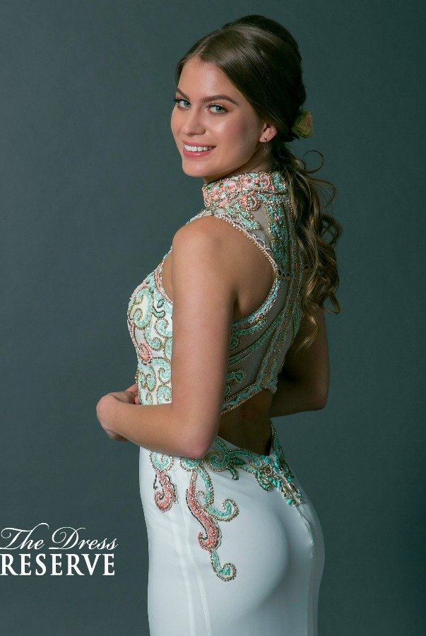 Alyce Paris White Stones Encrusted Open Back Gown