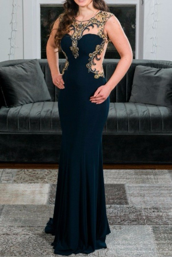 Alyce Paris Navy and Gold Embroidered Gown Evening Dress