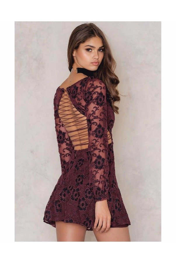 For Love and Lemons Jolene Lace-Up Burgundy Dress