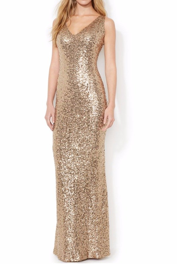 Ralph Lauren Gold Sequin V-Neck Evening Bridesmaid Gown Dress | Poshare