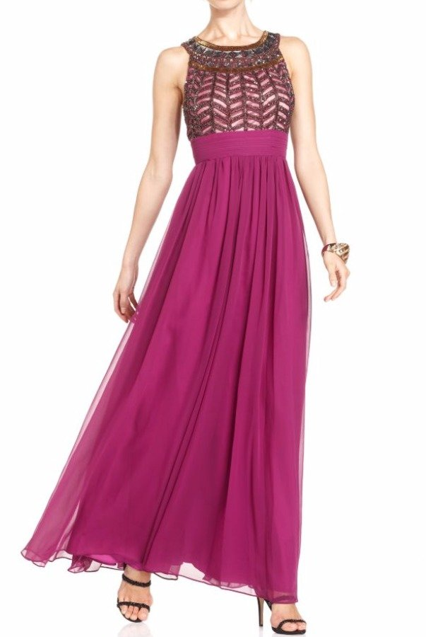 JS Collection Sleeveless Purple Jeweled Beaded Empire Gown