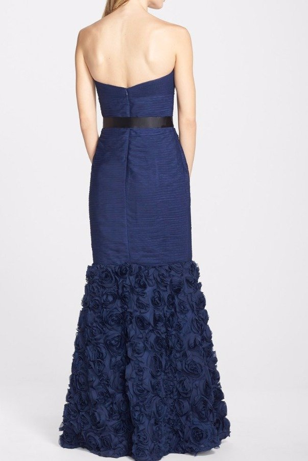 JS Collections Navy Strapless Gown with Ruffles