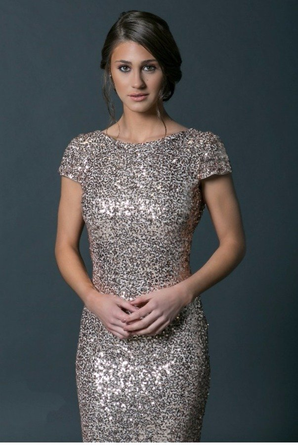 Badgley Mischka Rose Gold Sequin Cowl Gown with Capsleeves