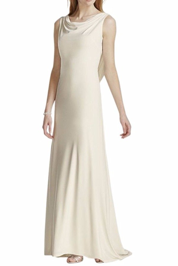 David's Bridal  Jersey Sheath Wedding Gown Pearl Chain