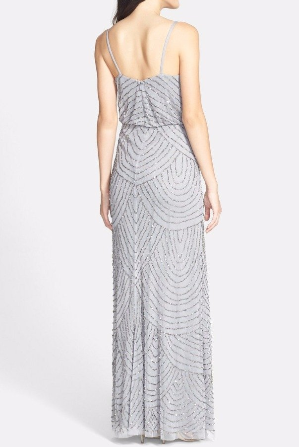 Adrianna Papell Silver Gray Beaded Art Deco Blouson Gown Dress
