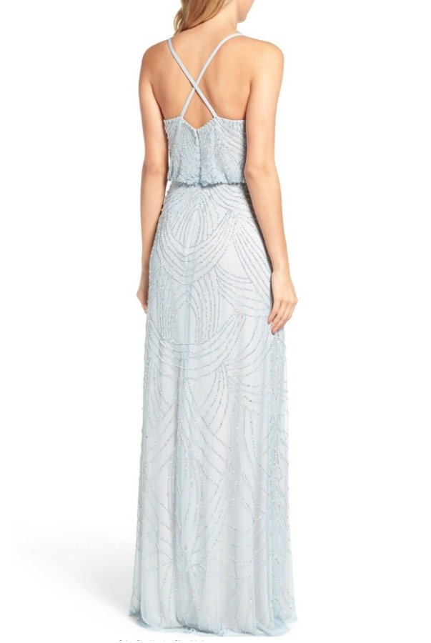 Adrianna Papell Beaded Blouson Dress Gray Silver Bridesmaid Gown