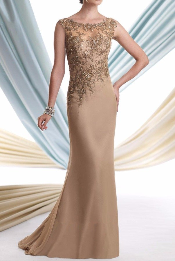 Mon Cheri 113920 Taupe Gold Silk Lace Mother Of Bride Dress