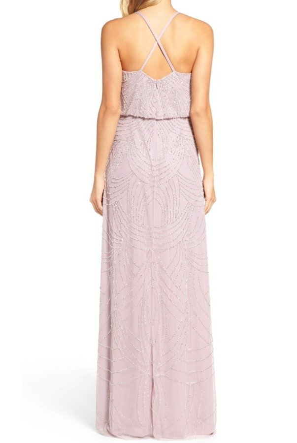 Adrianna Papell Light Heather Gray  Beaded Art Deco Blouson Gown
