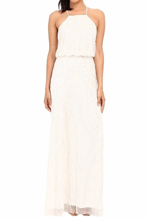 Adrianna Papell Ivory  White Fully Beaded Halter Gown Dress Bridal