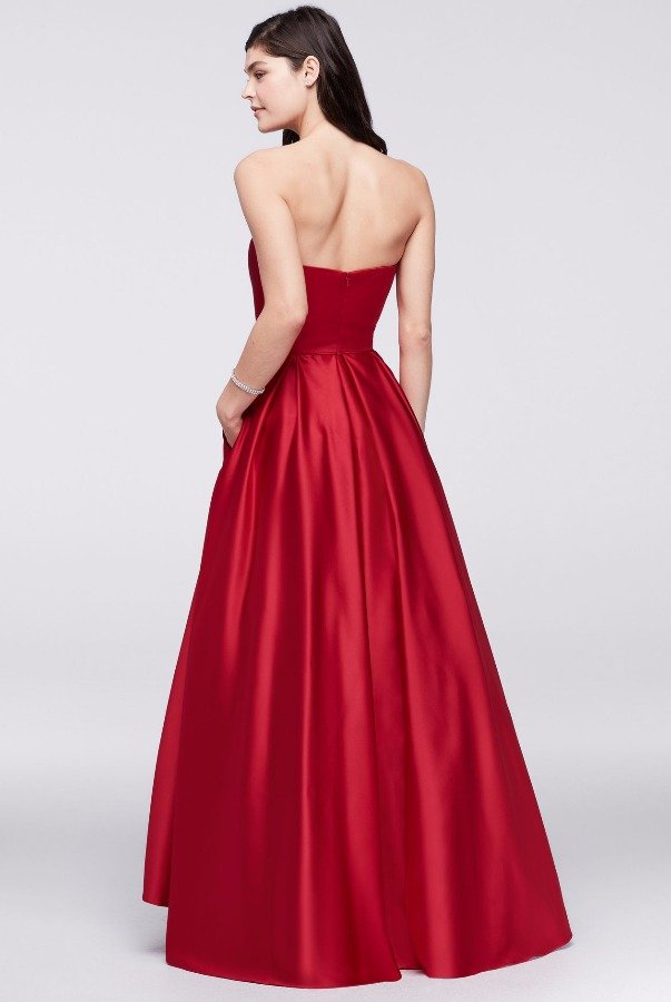 Betsy and Adam  Strapless High-Low Satin Ball Gown Red  Mikado