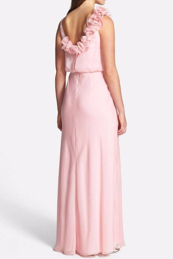 Adrianna Papell Bridesmaid Chiffon Gown Blush