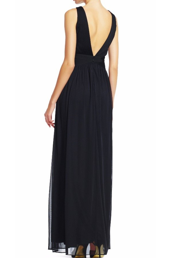 Adrianna Papell Sleeveless Tulle Dress Gown with Lace Detail