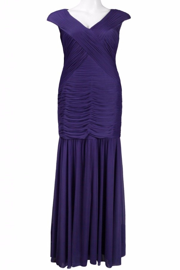 Adrianna Papell Purple Jersey Cap Sleeve Gown Mother of the Bride