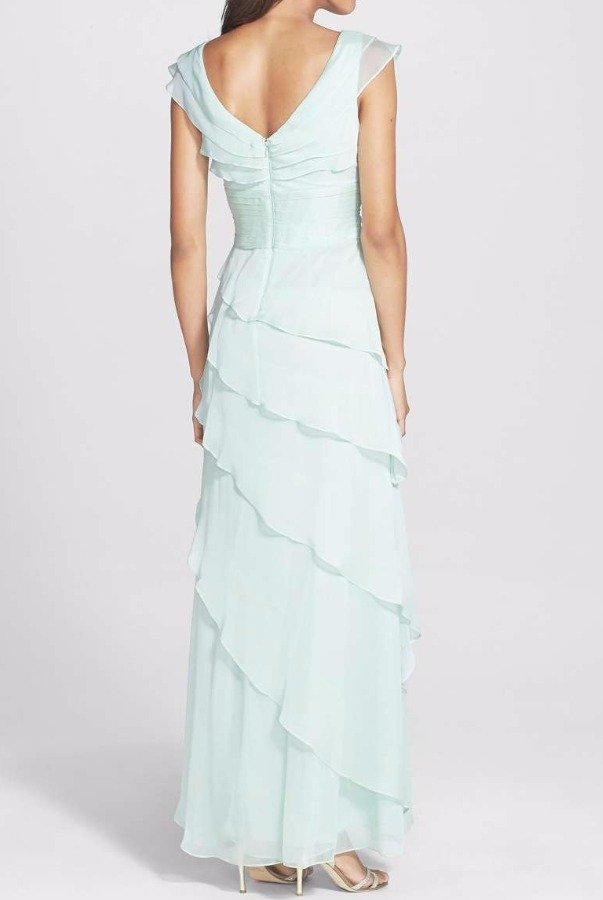 Adrianna Papell Tiered Cap Sleeve Chiffon Gown Mint Green Honeydew