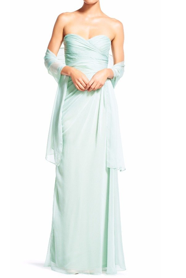 Adrianna Papell Ruched Mint Gown Bridesmaid chiffon Sweetheart