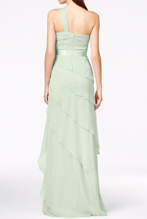 Adrianna Papell One Shoulder Tiered Chiffon Mint Gown Bridesmaid