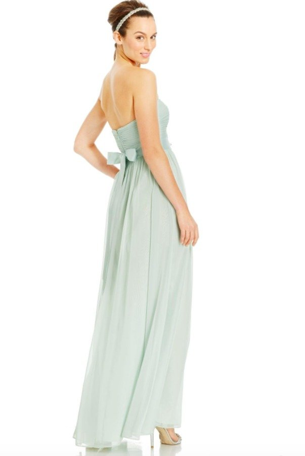 Adrianna Papell Chiffon Mint Green Strapless Gown Bridesmaid Dress