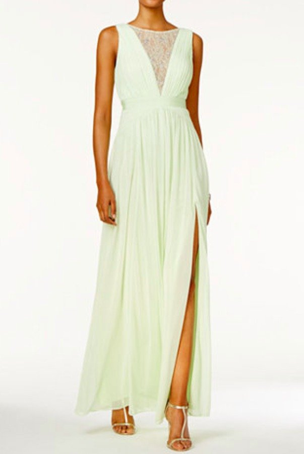 Adrianna Papell Chiffon Mint gown Lace insert