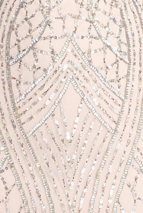 Adrianna Papell Cap Sleeve Beaded Column Gown in Natural Shell