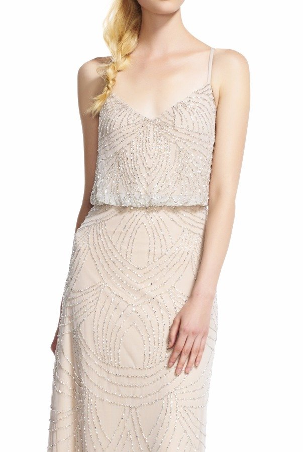Adrianna Papell Beaded Blouson Gown in Silver Nude