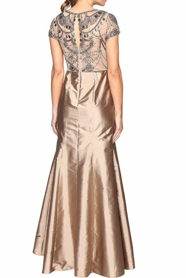 Adrianna Papell Adrianna Papell Cap Sleeve Necklace Beaded Gown