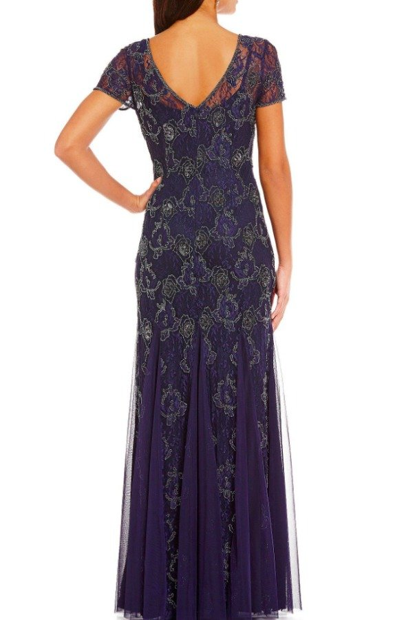 Adrianna Papell Navy Blue Beaded V-neck Lace Short Sleeve Gown