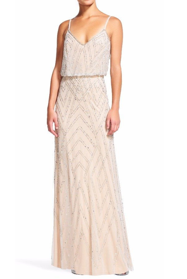 Adrianna Papell Silver Nude Diamond Beaded Gown Geometric Design